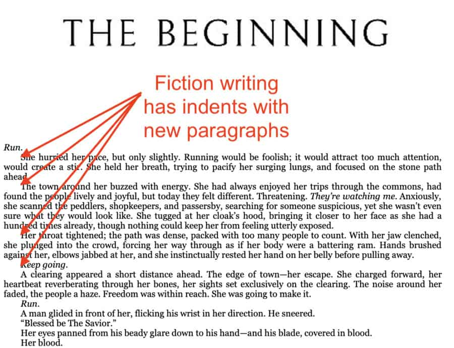 how to write a book fiction format