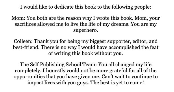 parts of a book dedication