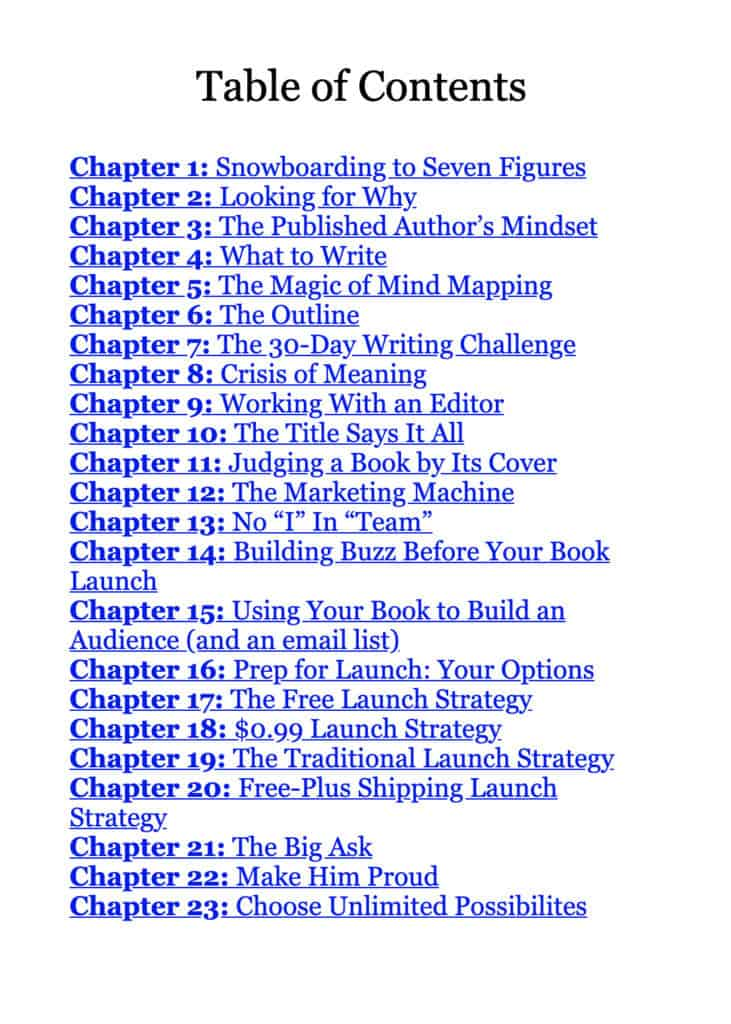 part of a book table of contents example