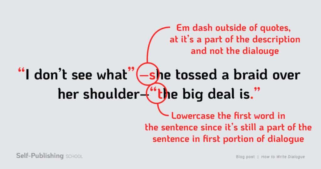 how to write dialogue em dash