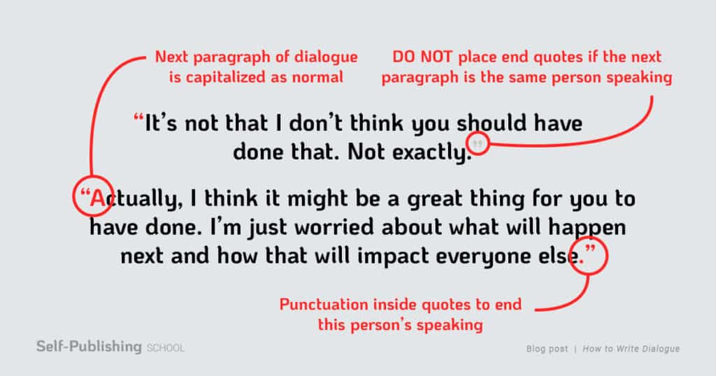 how to write dialogue paragraph