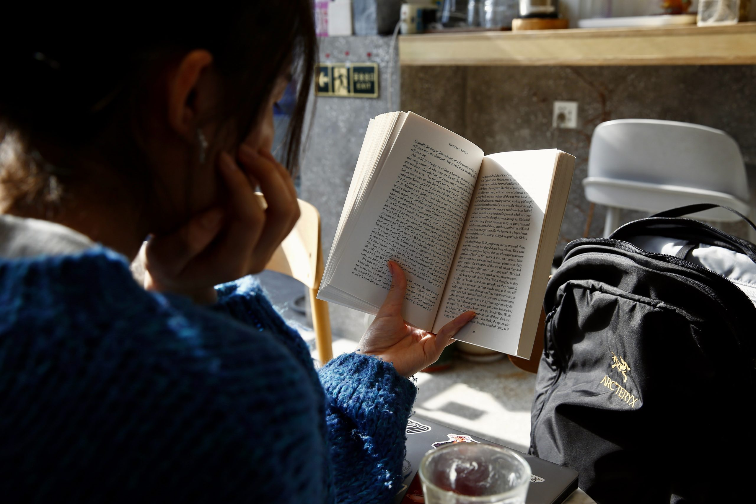 woman reading indie book